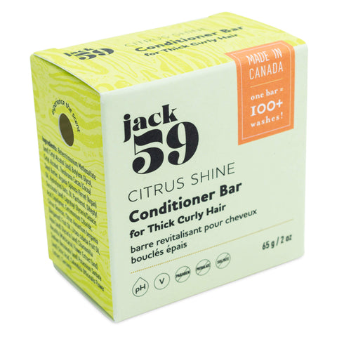 Jack 59 - Citrus Shine Conditioner Bar for Thick Curly Hair 65 Grams 2 Ounces | Kolya Naturals, Canada