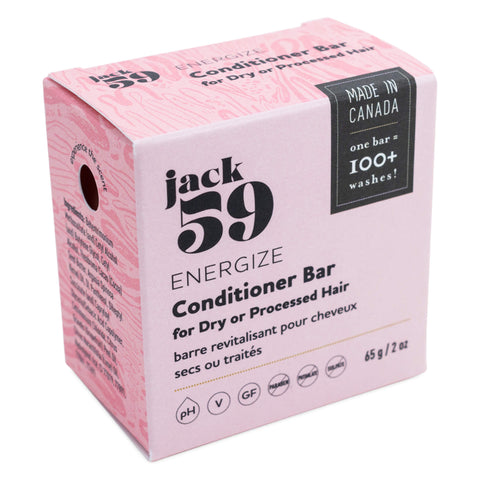 Jack 59 - Energize Conditioner Bar for Dry or Processed Hair 65 Grams 2 Ounces | Kolya Naturals, Canada