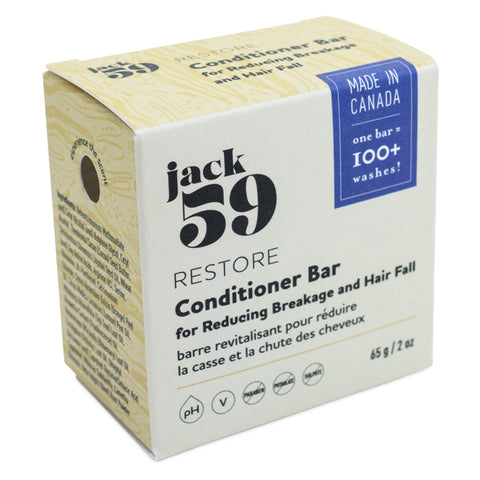Jack 59 - Restore Conditioner Bar for Reducing Breakage and Hair Fall 65 Grams 2 Ounces | Kolya Naturals, Canada