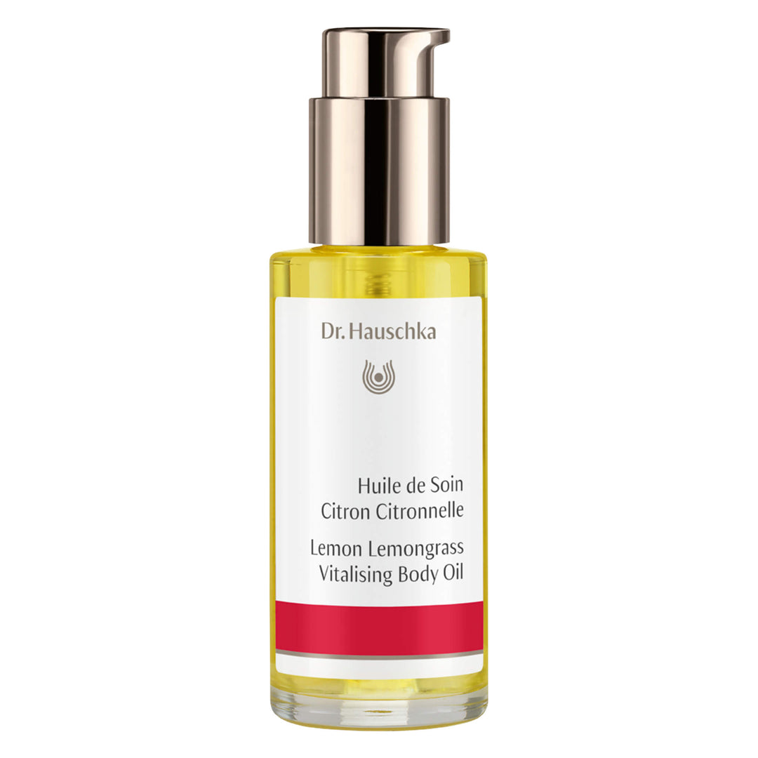 Pump Bottle of Dr. Hauschka Lemon Lemongrass Vitalising Body Oil 75 Milliliters
