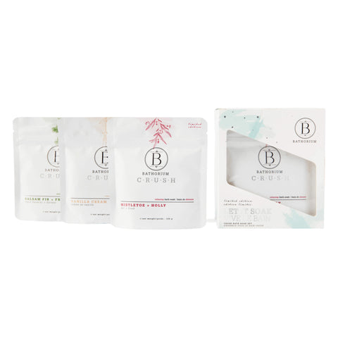 Box and Bags of Bathorium Let it Soak Holiday Crush Trio