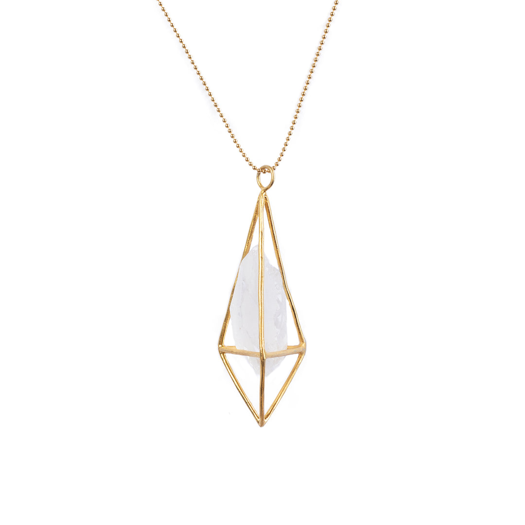 Lumia Necklace - Crystal Quartz and Gold