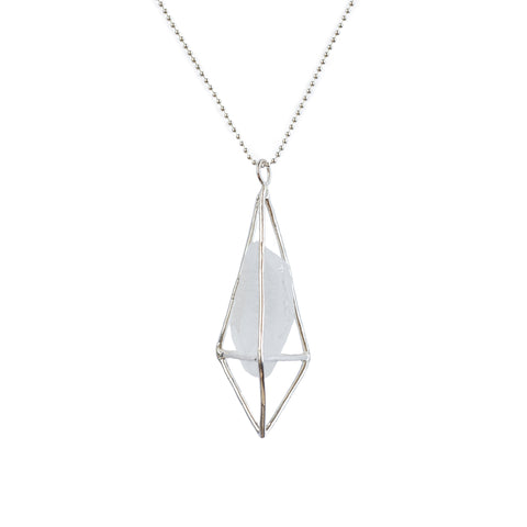 Lumia Necklace - Crystal Quartz and Sterling Silver