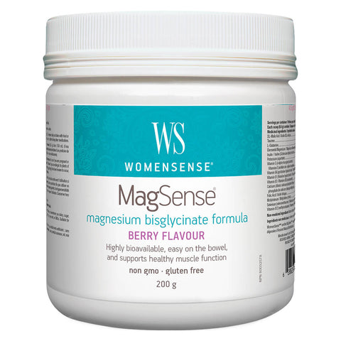 Bottle of WomenSense MagSense Magnesium Bisglycinate Formula Berry Flavour 200 Grams | Kolya Naturals, Canada