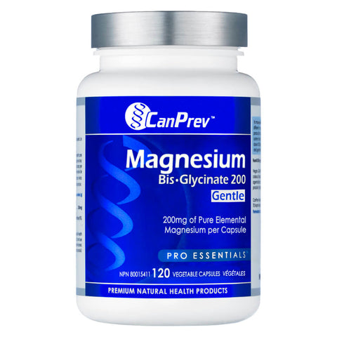 Bottle of CanPrev Magnesium Bis-Glycinate 200 Milligrams Gentle 120 Vegetable Capsules | Kolya Naturals, Canada