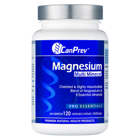 Bottle of CanPrev Magnesium Multi-Mineral 120 Vegetable Capsules | Kolya Naturals, Canada