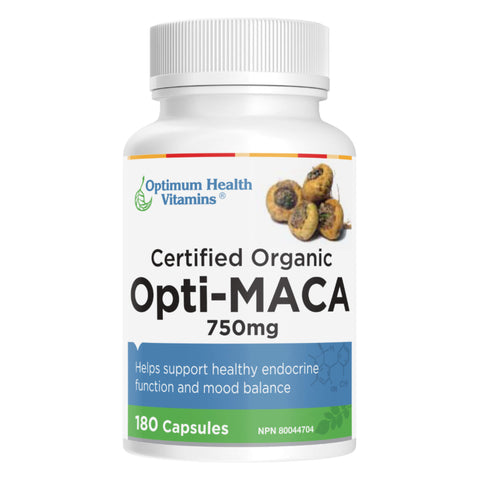 Bottle of Optimum Health Vitamins Opti-Maca 750 Milliligrams 180 Capsules