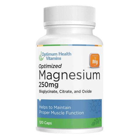 Bottle of Optimum Health Vitamins Optimized Magnesium 120 Capsules