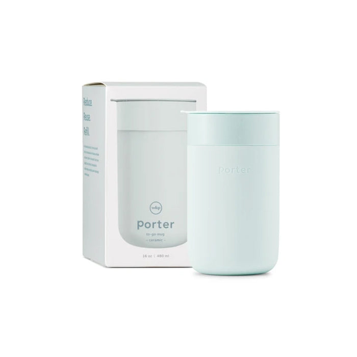 W & P Designs Porter Reusable Mint Blue Ceramic Mug