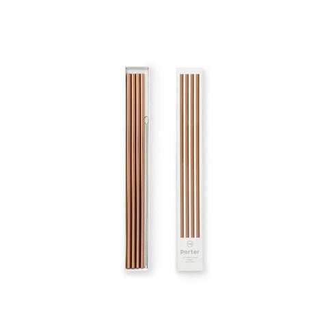 W & P Designs Porter Reusable Copper Straws With Straw Cleaner