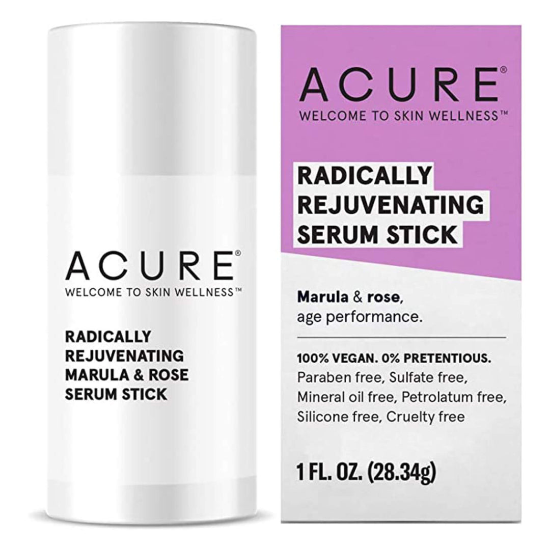 Bottle and Stick of Acure Radically Rejuvenating Serum Stick 1 Fluid Ounce