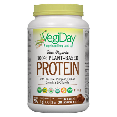 Bottle of VegiDay Raw Organic 100% Plant-Based Protein Decadent Chocolate Flavour 1110 Grams | Kolya Naturals, Canada