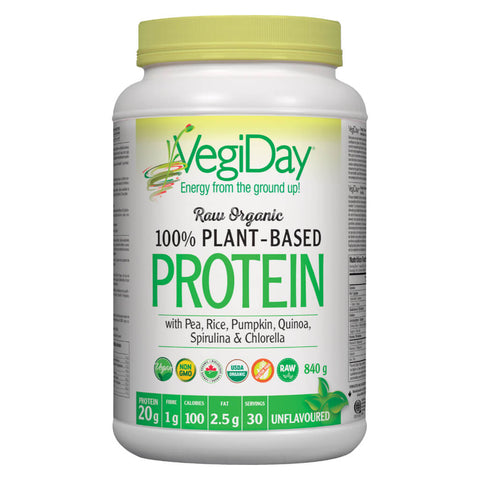 Bottle of VegiDay Raw Organic 100% Plant-Based Protein Unflavoured 840 Grams | Kolya Naturals, Canada