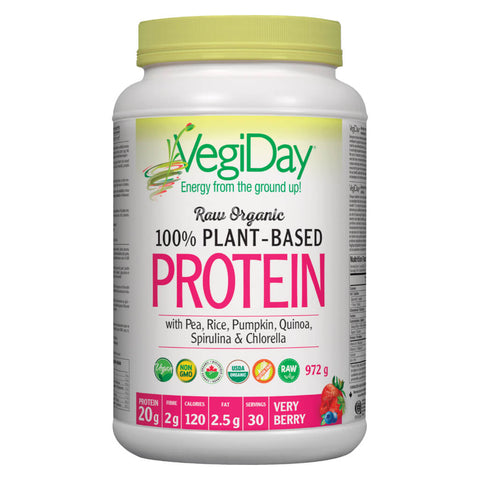 Bottle of VegiDay Raw Organic 100% Plant-Based Protein Very Berry Flavour 972 Grams | Kolya Naturals, Canada