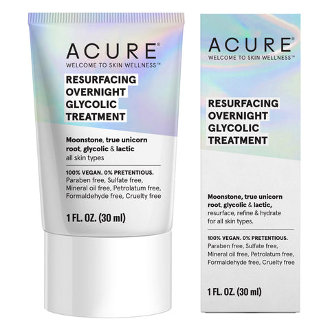 Box and Bottle of Acure Resurfacing Overnight Glycolic Treatment 1 Ounce
