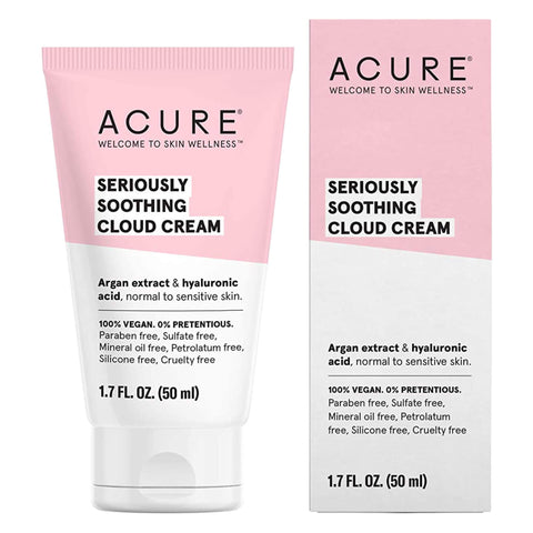 Bottle and Box of Acure Seriously Soothing Cloud Cream 1.7 Fluid Ounces