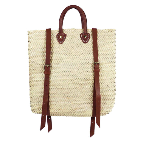 Panama Straw Backpack with leather handle and straps, Front View