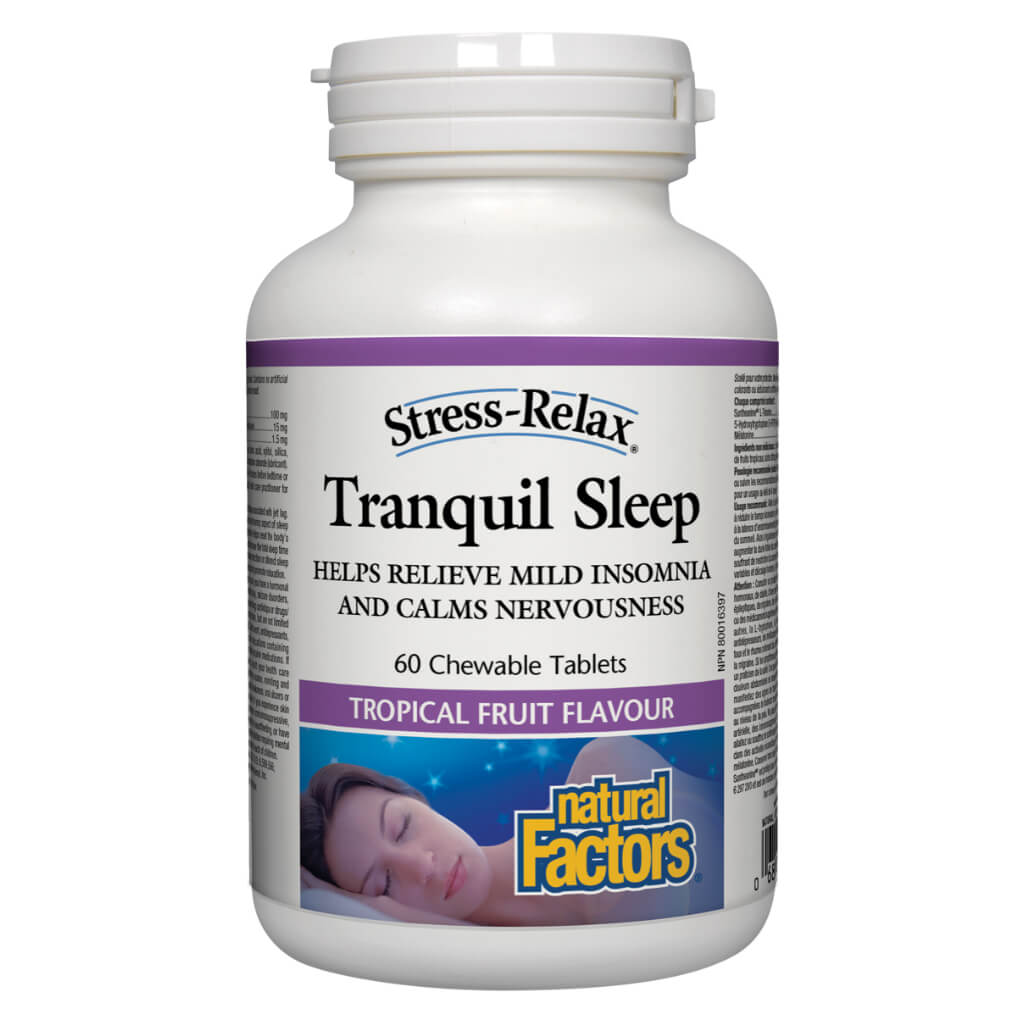 Bottle of Natural Factors Stress-Relax Tranquil Sleep 60 Chewable Tablets Tropical Fruit Flavour | Kolya Naturals, Canada