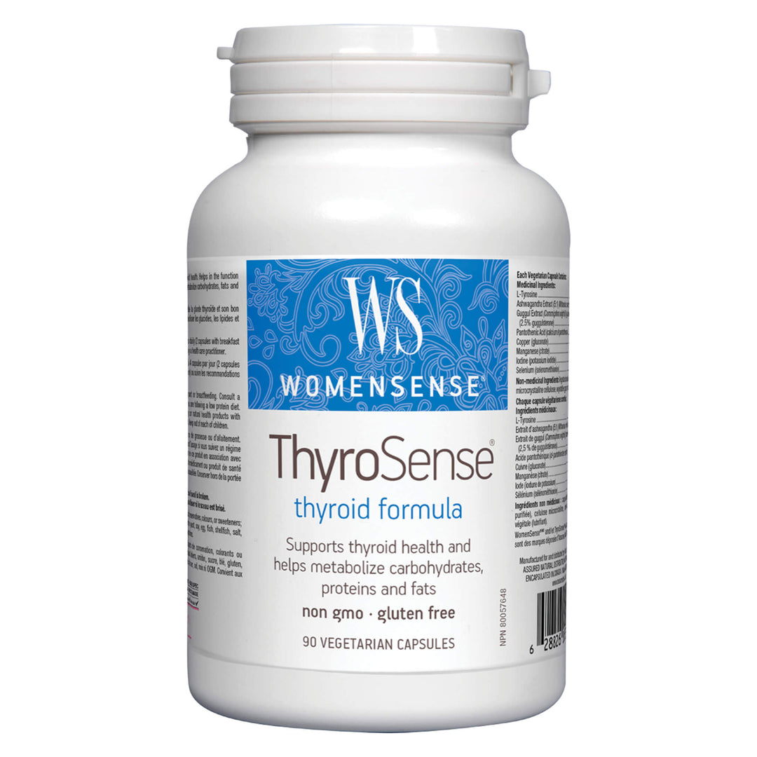 Bottle of WomenSense ThyroSense Thyroid Formula 90 Vegetarian Capsules | Kolya Naturals, Canada