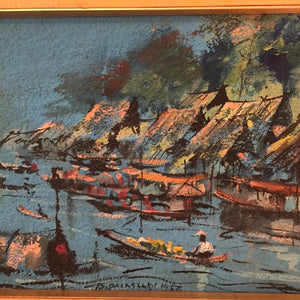 Vintage MidCentury Original Oil Asian Boats 1967