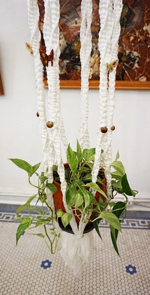 Vintage Macramé Hanging Planter With Potted Plant