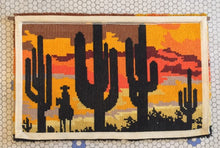 Load image into Gallery viewer, Vintage Cactus Sunset Latch Hook Rug 1970s