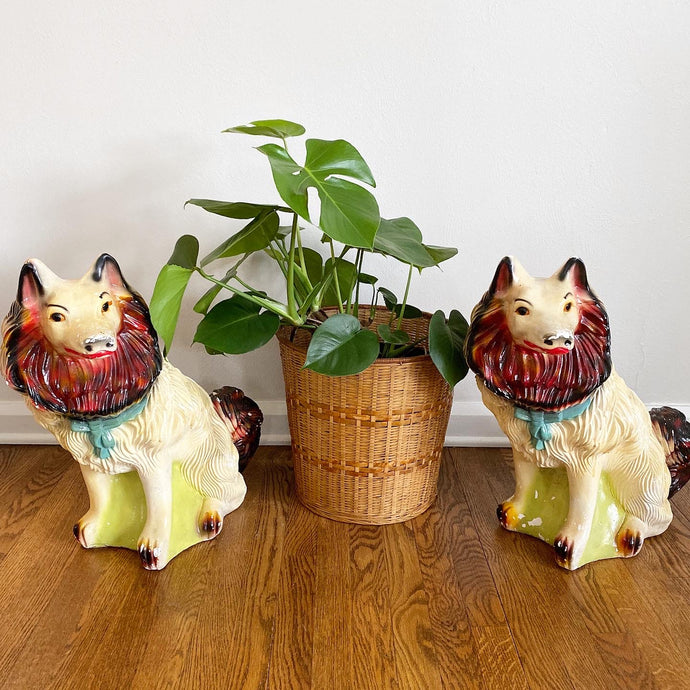 Vintage MidCentury Pair Of Large Chalkware Carnival Dogs 1954 Rare