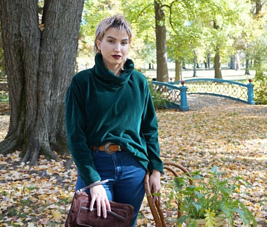 Vintage Deep Green Velour Cowl Neck Tunic
