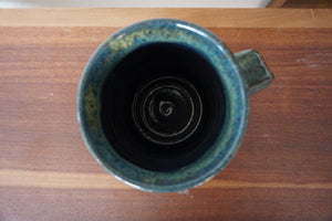 Vintage Hand Crafted Pottery Stoneware  Coffee Mug In Blue Teal Glazes Signed & Dated