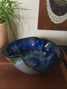 Vintage Bohemian Pottery Bowl With Blue Swirl Glazes Signed