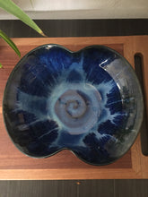 Load image into Gallery viewer, Vintage Bohemian Pottery Bowl With Blue Swirl Glazes Signed