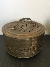 Load image into Gallery viewer, Vintage Bohemian Large Brass Cricket Box With Handle & Floral Design