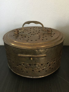 Vintage Bohemian Large Brass Cricket Box With Handle & Floral Design