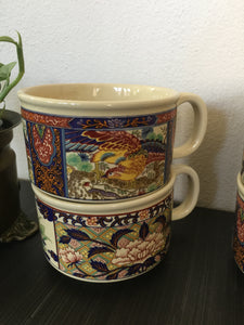 Vintage Bohemian Mug Set With Lotus And Asian Design c1970s From Japan