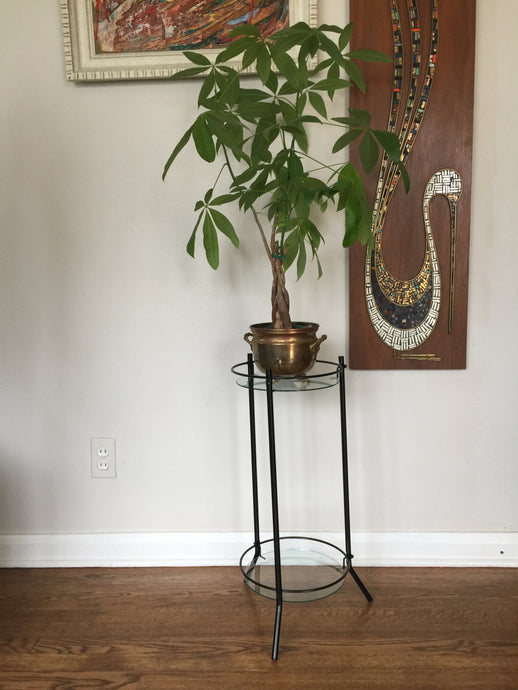 Vintage Mid Century Modern Metal And Glass Plant Stand In Black