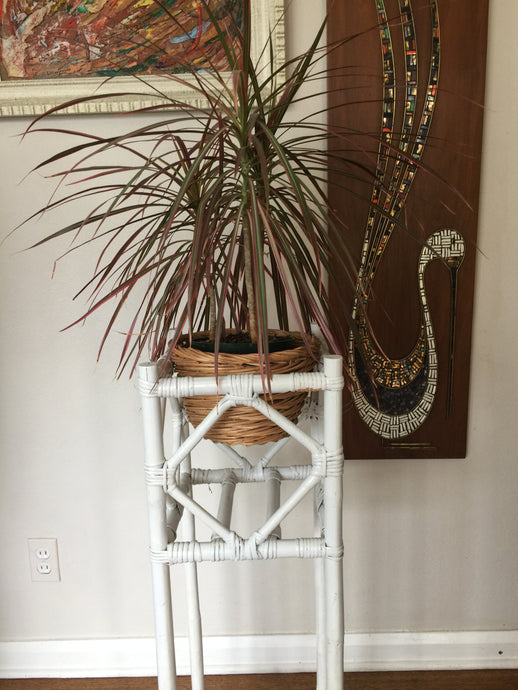 Vintage Bohemian Rattan Plant Stand In White