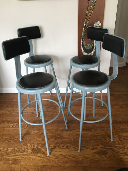 Vintage Modern Industrial Metal Bar Counter Stools With Adjustable Height