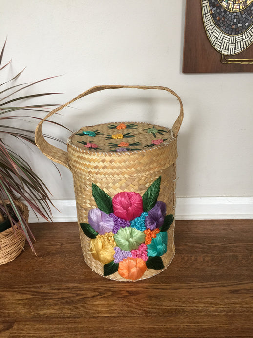 Vintage Bohemian Lidded Basket Hamper With Floral Design
