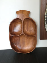 Load image into Gallery viewer, Vintage Mid Century Bohemian Large Monkey Pod Wood Bowl Segmented