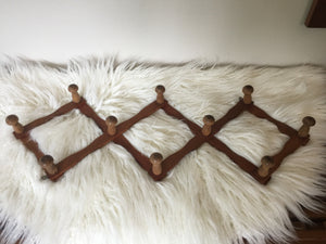 Vintage Expandable Wooden Peg Coat Hat Rack