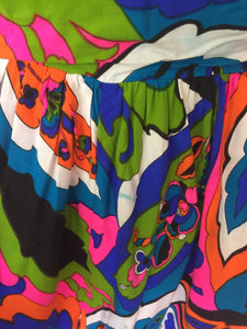 Vintage 1960's-70's Psychedelic Palazzo Pant Jumpsuit From San Francisco Haight Ashbury
