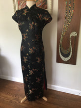 Load image into Gallery viewer, Vintage Asian Style Black Satin Cherry Blossom Print Fitted Maxi Dress With Side Slit By Robbie Bee 90s