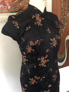 Vintage Asian Style Black Satin Cherry Blossom Print Fitted Maxi Dress With Side Slit By Robbie Bee 90s