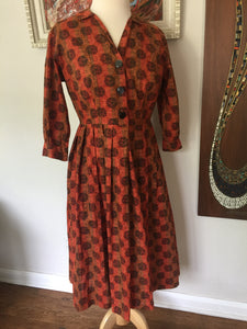 Vintage Mid Century 3/4 Sleeve Mod Print Handmade Day Dress 1950s-60s