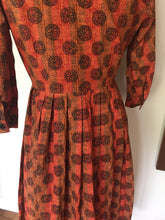 Load image into Gallery viewer, Vintage Mid Century 3/4 Sleeve Mod Print Handmade Day Dress 1950s-60s