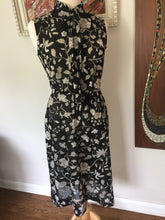 Load image into Gallery viewer, Vintage 70s-80s Sheer Black Floral Sleeveless Summer Dress With Tie Neck By Lady Carol Of New York
