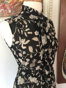 Vintage 70s-80s Sheer Black Floral Sleeveless Summer Dress With Tie Neck By Lady Carol Of New York