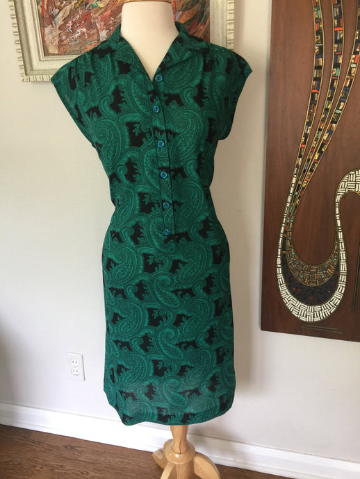 Vintage 70's Green & Black Paisley Shirt Dress With Cap Sleeves by Marty Gutmacher