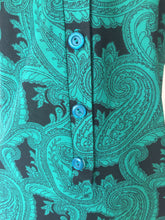 Load image into Gallery viewer, Vintage 70's Green & Black Paisley Shirt Dress With Cap Sleeves by Marty Gutmacher