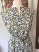 Load image into Gallery viewer, Vintage 1970s Blue & White Floral Handmade Summer Dress With Cap Sleeves